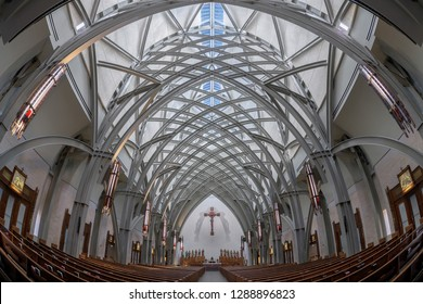 AVE MARIA, FLORIDA, USA - DECEMBER 12, 2018: Interior and nave of the Ave Maria Catholic Church