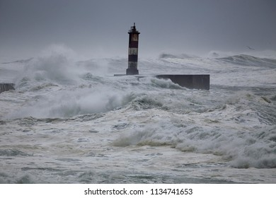 Ave river mouth during heavy sea storm, north of Portugal