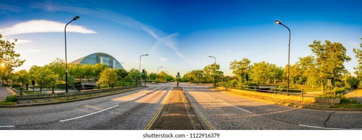 Avebury boulevard panorama in Milton Keynes, Buckinghamshire