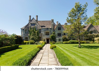 Avebury, Wiltshire, UK: May 13, 2015: Avebury Manor & Garden is a Grade I-listed early-16th-century Tudor manor house.