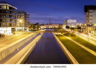 Aveiro city by night with the famous water channels - Portugal