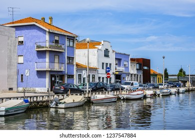 AVEIRO, PORTUGAL - APRIL 20, 2017: View of Botidion Wharf (Piers Botiroes) in the heart of the historical center of Aveiro.