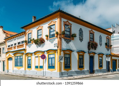 Aveiro, Portugal, April 29, 2019: View of the beautiful old facades buildings in Art Nouveau architectural style in Aveiro city, Portugal