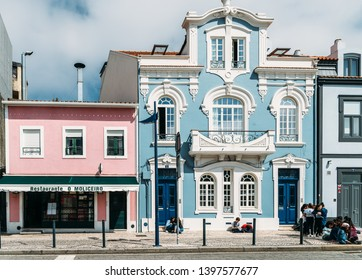 Aveiro, Portugal - April 29, 2019: View on the beautiful old facades buildings in Art Nouveau architectural style in Aveiro city in Portugal