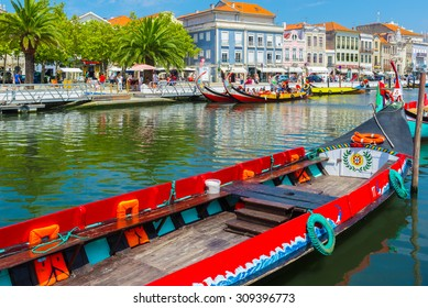 AVEIRO, PORTUGAL - AUG 21: Moliceiro is a typical portugese sailing boat on August 21, 2015 in Aveiro, Portugal