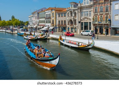 AVEIRO, PORTUGAL - AUG 21: Moliceiro is a typical portuguese sailing boat on August 21, 2015 in Aveiro, Portugal
