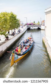 Aveiro, Portugal - august, 17, 2018: Traditional boat on the canal in Aveiro, Portugal