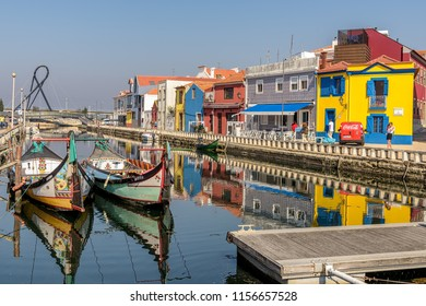 Aveiro, Portugal. Circa October 2017. View of the Portuguese town of Aveiro, known for its canals, colorful buildings and traditional moliceiro boats.