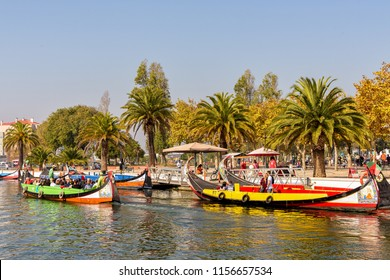 Aveiro, Portugal. Circa October 2017. View of colorful boats, called moliceiros, a  main tourist attraction in Aveiro, Portugal.