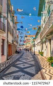 Aveiro, Portugal. Circa October 2017. VIew of icturesque pedestrian street in Aveiro, Portugal.
