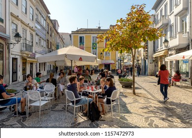 Aveiro, Portugal. Circa October 2017. View of outdoors bar and restaurants in old town Aveiro, Portugal.