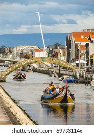 Aveiro, Portugal - Circa September 2013: A view of the canals in Aveiro, Portugal