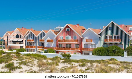 Aveiro in Portugal, Costa Nova, Beira Litoral, colored and lined houses on the beach