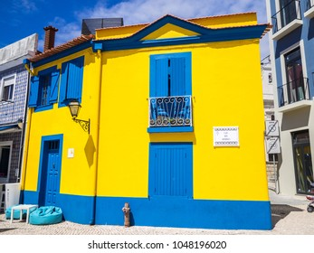 Aveiro, Portugal - July 9, 2017: View of the traditional colored facades of the portuguese houses in the city of Aveiro