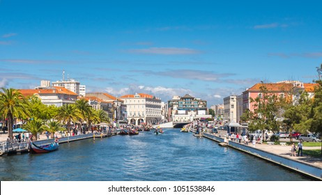 Aveiro, Portugal - July 9, 2017: View of the main channel of the city of Aveiro full of boats for tourist tours.