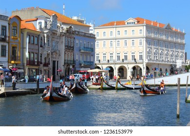 Aveiro, Portugal; June 15, 2018: Traditional boats on the canal in Aveiro.