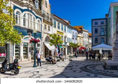 Aveiro, Portugal - June 16, 2018: City center of Aveiro, Portugal. Aveiro is popular with tourists to enjoy views of the charming canals. Aveiro, Portugal.