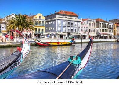 AVEIRO, PORTUGAL - MARCH 21, 2017: Traditional boats in Vouga river, Aveiro, Portugal on March 21, 2017