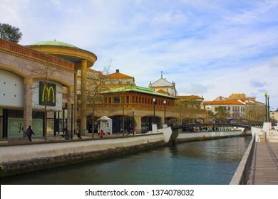 AVEIRO, PORTUGAL - March 3, 2019: Forum Aveiro - shopping center on the Cojo Canal in Aveiro
