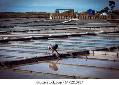 Aveiro, Portugal - October 1, 2016: Man working in the sal farm in Aveiro, Portugal