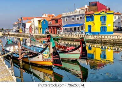 Aveiro, Portugal. October 10, 2017. Colorful Moliceiro boat rides in Aveiro are popular with tourists to enjoy views of the charming canals.