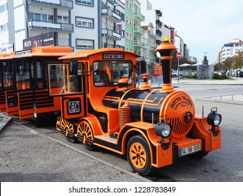 AVEIRO, PORTUGAL - OCTOBER 20: Tourist train service in Aveiro, Portugal on October 20, 2018. Touristic Train Ride is an official touristic train service that shows the tourist places of the city.