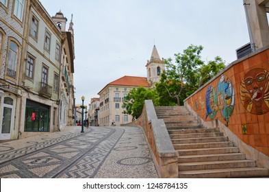 Aveiro, Portugal - Sep 3rd 2018: Beautiful streets in the city center of portuguese Aveiro near to the Igreja da Misericordia de Aveiro Church.