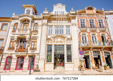 AVEIRO, PORTUGAL - September 26, 2017: View on the beautiful old facades buildings in Art Nouveau architectural style in Aveiro city in Portugal