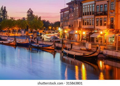 Aveiro, Portugal. A view at gondolas in the central canal in Aveiro. Taken on 2015/09/03