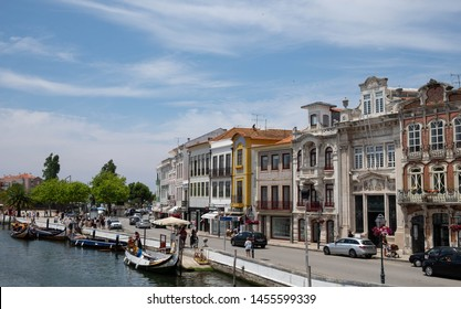 Aveiro/Portugal - July 2019; Beautiful Street and Traditional Boat in Aveiro, Portugal