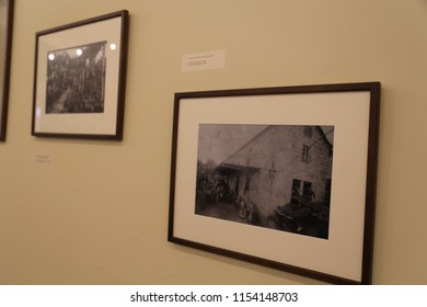 Aveleda, Europe/ Portugal, -June 5, 2018 - old black and white photographs of the house and people on the wall of the winery store from the 11th century of Quintus Aveleda
