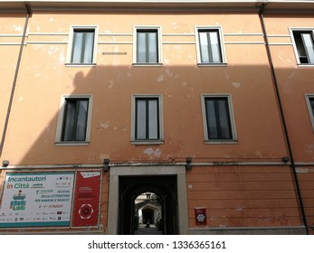 Avellino, Campania, Italy - 8 March 2019: Entrance of the former Bourbon prison currently the headquarters of the Archaeological Superintendency