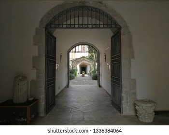 Avellino, Campania, Italy - 8 March 2019: Entrance hall of the former Bourbon prison currently the headquarters of the Superintendency