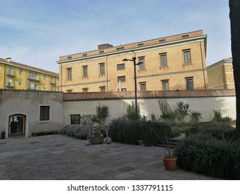 Avellino, Campania, Italy - 8 March 2019: Pavilion of the infirmary of the former Bourbon prison currently the headquarters of the Superintendency