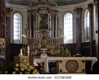 Avellino, Campania, Italy - October 21st 2018: Altar of the Cathedral of Santa Maria Assunta and of San Modestino during Sunday Mass