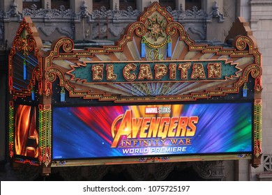 'Avengers: Infinity War' world premiere sign at the El Capitan, Los Angeles, CA/ USA - April 23 2018