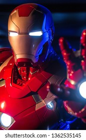 AVENGERS STATION, LONDON - FEBRUARY 2019: An Ironman costume on display at Avengers S.T.A.T.I.O.N. in the lead up to the movie Avengers Endgame.
