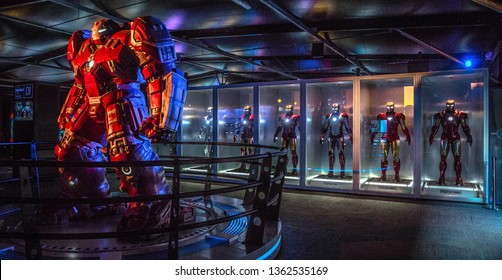 AVENGERS STATION, LONDON - FEBRUARY 2019: An Ironman Hulk Buster costume on display at Avengers S.T.A.T.I.O.N. in the lead up to the movie Avengers Endgame.