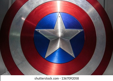 AVENGERS STATION, LONDON - FEBRUARY 2019: Captain America (played by actor Chris Evans) Shield on display at Avengers S.T.A.T.I.O.N. in the lead up to the movie Avengers Endgame.