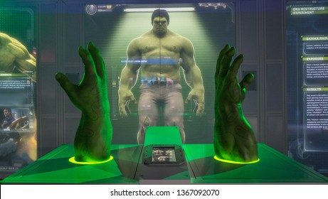 AVENGERS STATION, LONDON - FEBRUARY 2019: The Incredible HULK hands and fists on display at Avengers S.T.A.T.I.O.N. in the lead up to the movie Avengers Endgame.