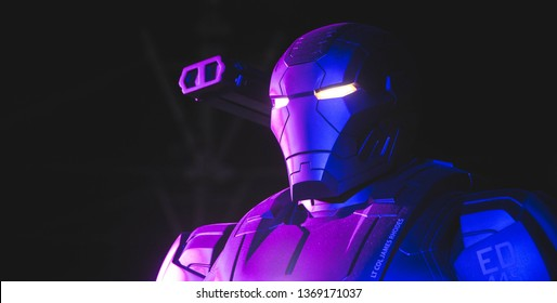 AVENGERS STATION, LONDON - FEBRUARY 2019: A War Machine costume on display at Avengers S.T.A.T.I.O.N. in the lead up to the movie Avengers Endgame.