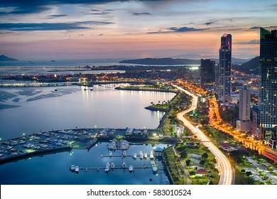 Avenida Balboa at Dusk in Panama City, Panama