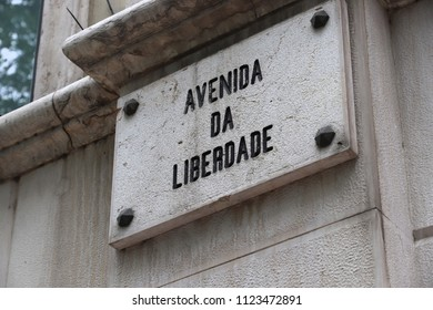 Avenida Da Liberdade sign in Lisbon, Portugal. Liberty Avenue.