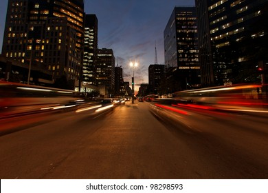 Avenida Paulista night traffic Sao Paulo Brazil - the avenue with the most expensive real estate in South America