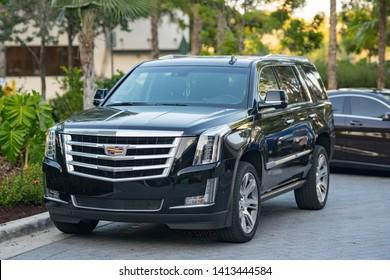 AVENTURA, FL, USA - MAY 30, 2019: Cadillac Escalade a luxury limo suv