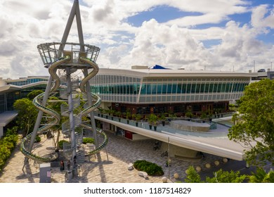 AVENTURA, FLORIDA, USA - SEPTEMBER 24, 2018: Aerial drone photo of the Aventura Mall Slide Tower and newly redesigned food court and recreation area