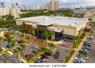AVENTURA, FLORIDA, USA - SEPTEMBER 24, 2018: Aerial drone image of Publix Supermarket redesigned and completed in 2018