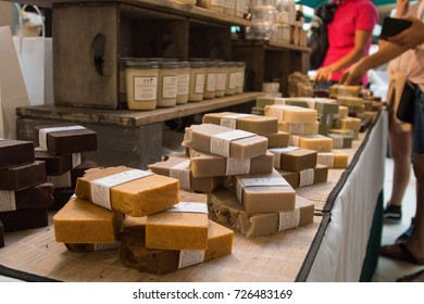 AVENTURA MALL, MIAMI - OCTOBER 1st, 2017: Aventura mall is one of South Florida largest upscale retail malls. Sunday's farmers market soap bath store.