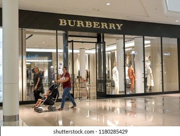 AVENTURA, USA - AUGUST 23, 2018: Burberry famous boutique in Aventura Mall. Burberry is a British luxury fashion house headquartered in London, England.