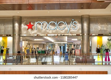 AVENTURA, USA - AUGUST 23, 2018: Macy's famous store in Aventura Mall. Macy's is an American department store chain founded by Rowland Hussey Macy